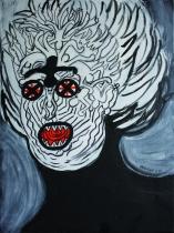 Haring, le fou noir et rouge - 33x46